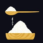 Vector illustration of a salt or sugar in a wooden bowl and in a wooden spoon.