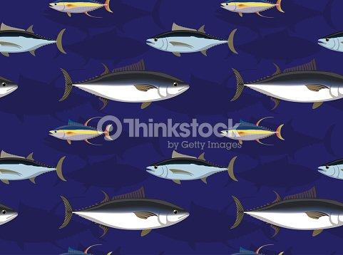 Saltwater Fish Tuna Cartoon Seamless Wallpaper