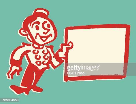Faire le salut militaire Groom avec panneau vide : Clipart vectoriel