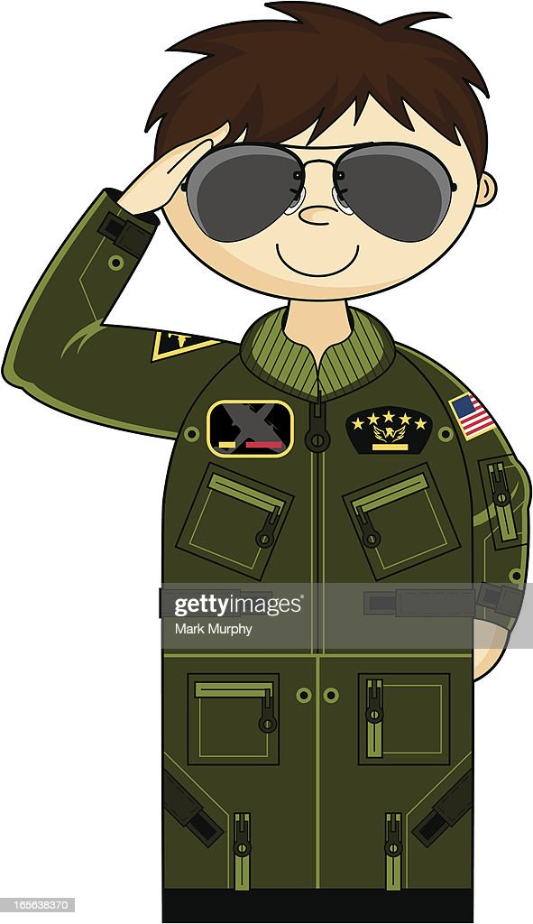 Saluting Usaf Pilot In Flight Suit And Shades Vector Art | Getty ...