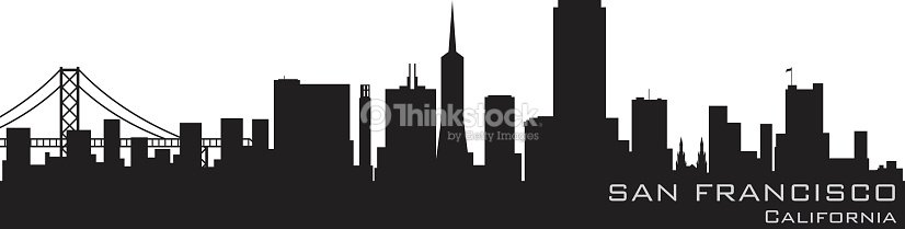 san francisco california city skyline silhouette stock illustration