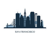 San Francisco skyline, monochrome silhouette. Vector illustration.