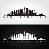San Francisco USA skyline and landmarks silhouette, black and white design, vector illustration.
