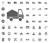 Sand truck icon. Transport and Logistics set icons. Transportation set icons.