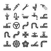 Sanitary engeneering, valve, pipe, plumbing service objects icons collection. Faucet and plumbing valve, pipe water and tube for drain. Vector illustration