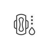 Sanitary napkin line icon isolated on white. Vector illustration