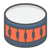 Sanre Drum filled outline icon, music and instrument, beat sign vector graphics, a colorful line pattern on a white background, eps 10.
