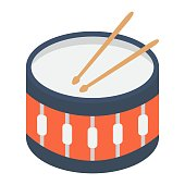 Sanre Drum flat icon, music and instrument, beat sign vector graphics, a colorful solid pattern on a white background, eps 10.