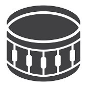 Sanre Drum glyph icon, music and instrument, beat sign vector graphics, a solid pattern on a white background, eps 10.