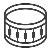 Sanre Drum line icon, music and instrument, beat sign vector graphics, a linear pattern on a white background, eps 10.