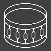 Sanre Drum line icon, music and instrument, beat sign vector graphics, a linear pattern on a black background, eps 10.