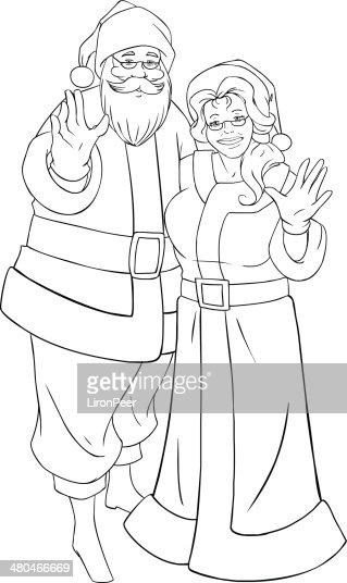 Santa Claus Y La Sra Agitando Las Manos De Navidad Para Colorear ...