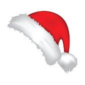 Santa cap, Christmas hat icon, symbol, design. Winter vector illustration isolated on white background.