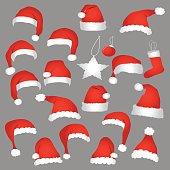 Santa caps and christmas decorations. Vector icons set.