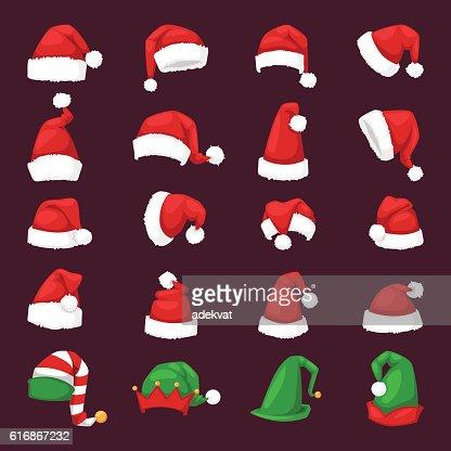 Santa christmas hat vector illustration. : Arte vectorial