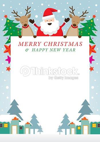 Santa Claus And Reindeer Frame Vector Art | Thinkstock