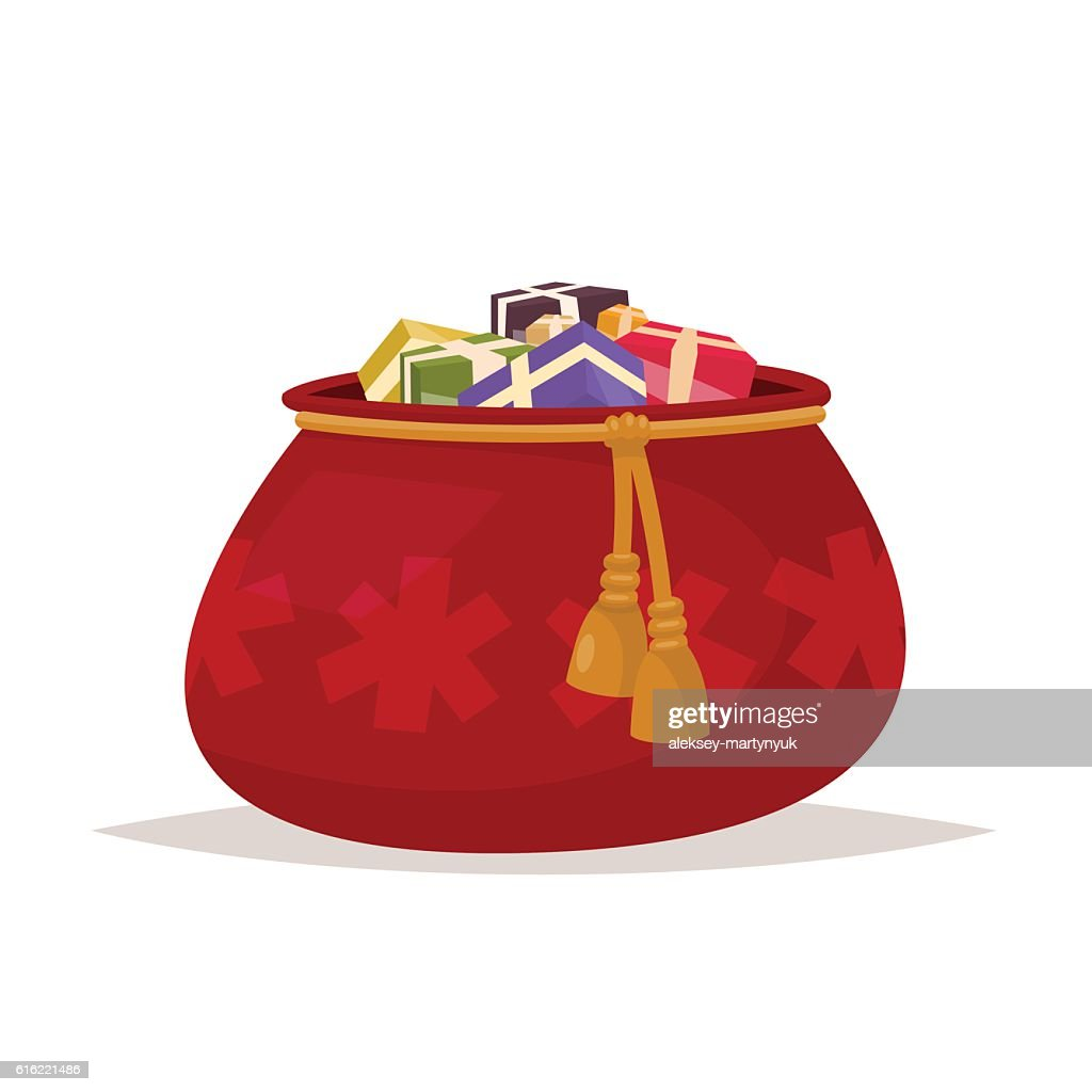 Santa Claus bag of gifts on an isolated background. : Vektorgrafik