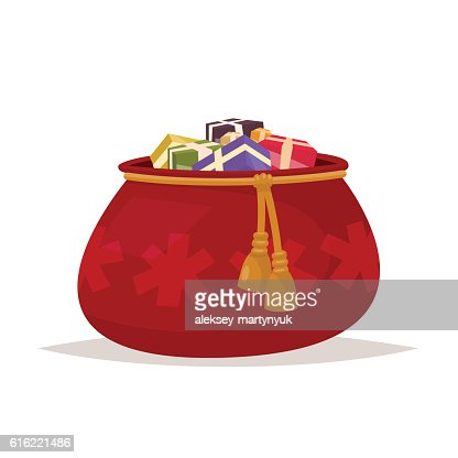 Santa Claus bag of gifts on an isolated background. : Arte vettoriale