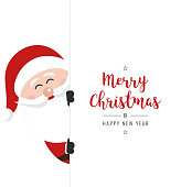 santa claus behind banner christmas gretting white background