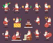 Santa Claus Cartoon Characters Poses Christmas New Year Icons Flat Design Vector Illustration