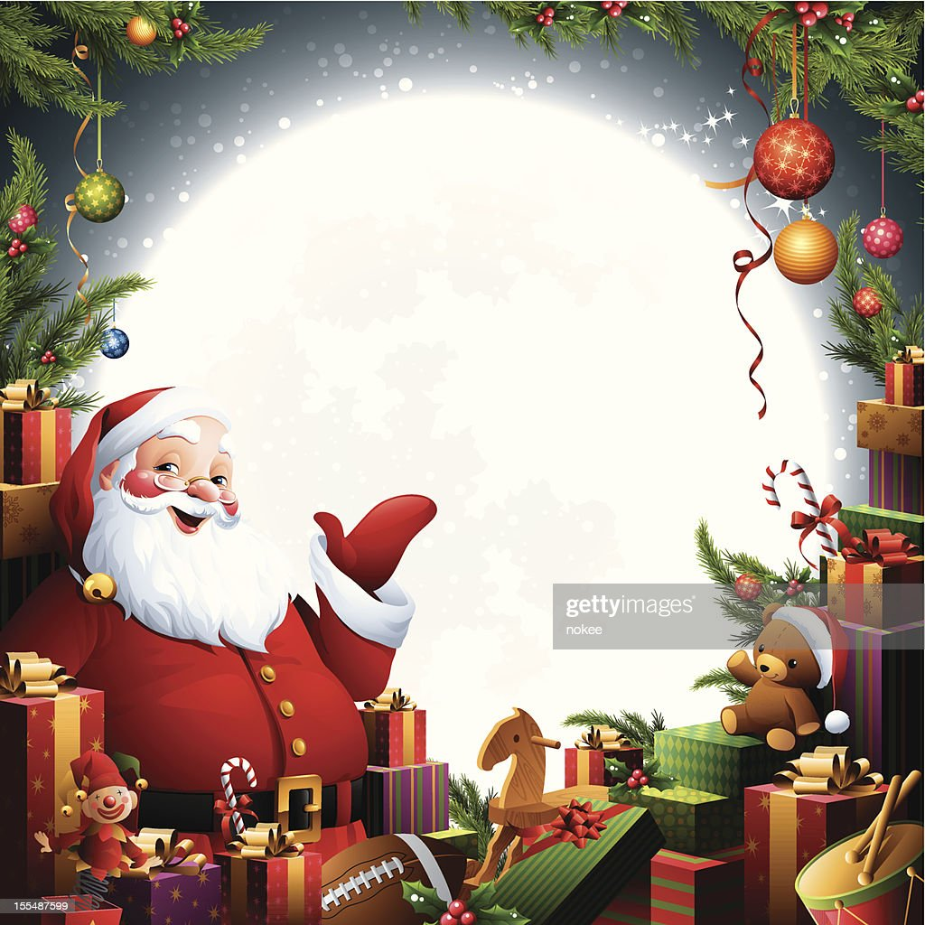 Santa claus christmas gifts vector art getty images