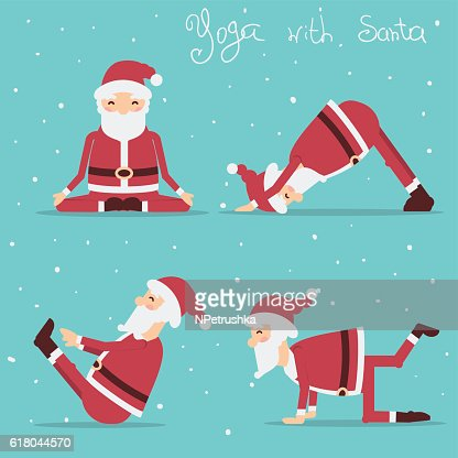 Santa Claus doing yoga.Vector holiday illustration : Arte vectorial
