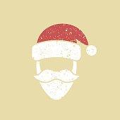 Santa Claus hat and beard template. Christmas Retro Card