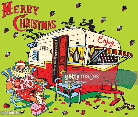 Santa Claus Has A Restcaravan Christmas Vector Art ...