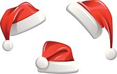 Santa Claus Hats. Perfect for Christmas dress for each logo on the web or other Christmas decoration.