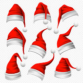 Santa Claus hats. Christmas red hat, xmas furry headdress plush wearing and winter holidays head fur wear decoration, funny clothes traditional costume cartoon 3D vector isolated icons set
