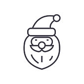 santa claus head concept vector thin line icon, sign, symbol, illustration on isolated background