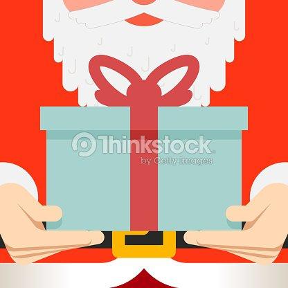 Santa claus hold hands gift present beard belt greating card vector santa claus hold hands gift present beard belt greating card vector art negle Choice Image