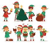Santa Claus kids cartoon elf helpers vector illustration. Santa Claus elf helpers children. Santa helpers traditional costume. Santa family elfs isolated on background. Santa Claus elf christmas kids
