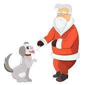 Santa gives a bone to his pet. Dog as a symbol of New Year.