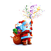 Vector illustration character santa claus present gift bag smile slapstick flapper petard confetti serpentine holiday fun sticker emoji happy new year merry christmas mascot design white background.