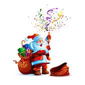 Vector illustration character santa claus present gift empty bag smile slapstick flapper petard confetti serpentine holiday sticker emoji happy new year merry christmas mascot design white background.