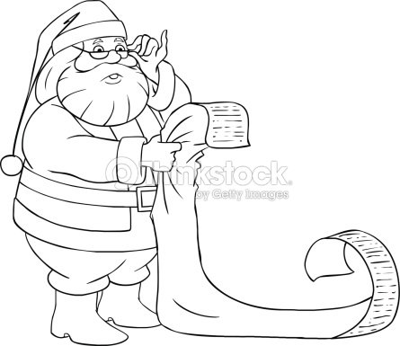 santa claus reads from christmas list coloring page vector art