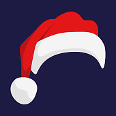 Santa Claus red hat isolated. Santa Christmas hat decoration. vector illustration in flat style