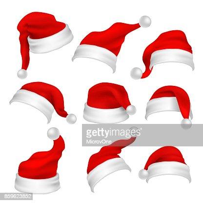 Rojo de Santa Claus sombreros de apoyos de la cabina de la foto. Elementos de vector de la decoración de vacaciones de Navidad : Arte vectorial