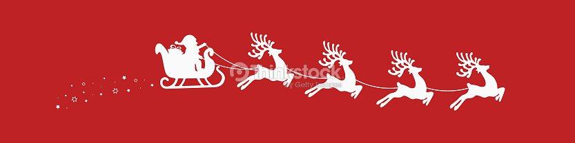 Sfondi Natalizi Renne.Slitta Di Babbo Natale Renna Stelle Sfondo Rosso Arte Vettoriale