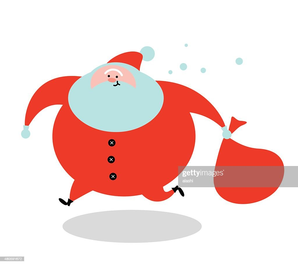 Santa Claus running and holding a red sack : Vector Art
