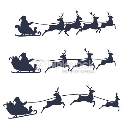 Santa Claus Sleigh and Reindeer set, black and white vector illustration. : stock vector