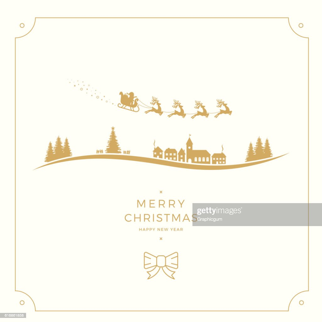 santa claus sleigh merry christmas gold card : Vector Art