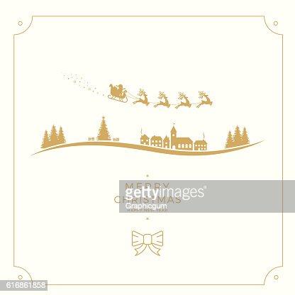 santa claus sleigh merry christmas gold card : Vector Art