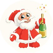 Santa Claus with shapansky bottle on a white background