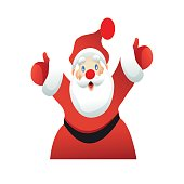 Santa Claus welcomes emotionally white background. Vector illustration