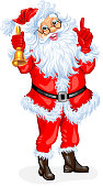 Santa Claus with a bell. Vector illustration