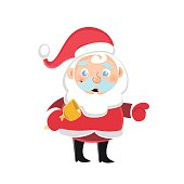 Santa Claus with a festive bell white background. Vector illustration