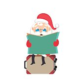Santa Claus with a suitcase of a tourist on a white background. Vector illustration