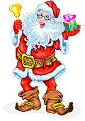 Santa Claus with bell and a gift in box